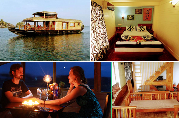 houseboat couples, candlelight dinner, bedroom